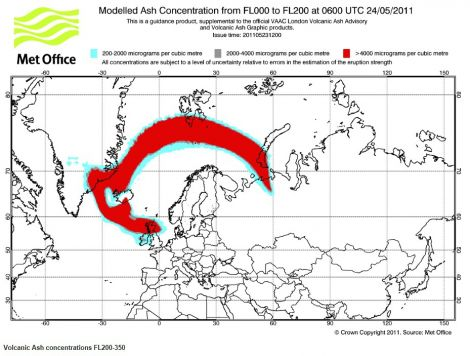 Modelled ash cloud movement for 6am on Tuesday morning - Image: Met Office