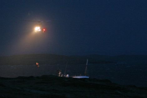 .The crew of the Quiet Waters being winched off the vessel on Sunday morning - Photo: Elaine Tait