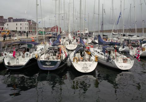 Bergen Shetland Race yachts in Lerwick harbour on Friday. Pic. Chris Brown