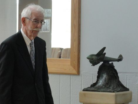 Jimmy Burgess with the new memorial - Photos: Shetland News