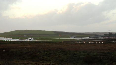 Scatsta airport on Wednesday afternoon - Photo: Shetland News