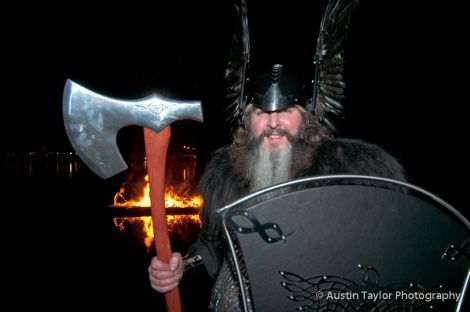 Jarl Sigurd the Stout in front of his burning gallay.