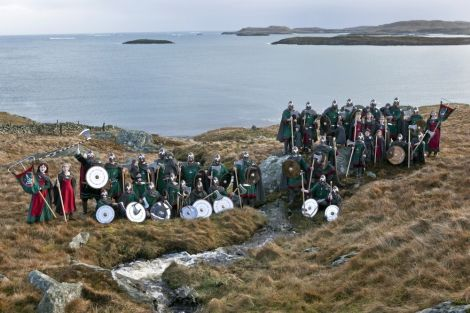 The outstandingly turned out Jarl squad pose on the coast. Pic. Ivan Hawick.