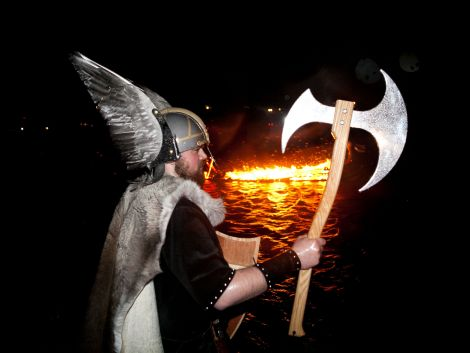 Jarl Thorkill Haraldson before his burning galley at Northmavine Up Helly Aa.