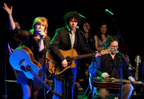 Eddi Reader, Declan O'Rourke and Jerry Douglas at the Click on Friday night - all photos: Billy Fox