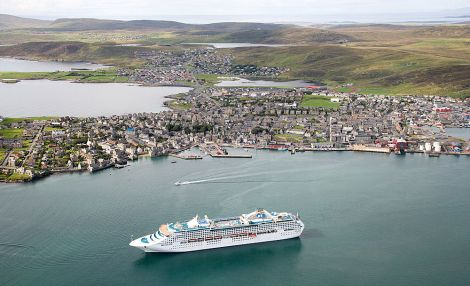 Aerial view of Lerwick harbour - The Sea Princess at inner anchorage - Photo: LPA