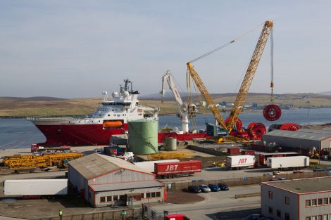 The ROV support vessel, Fugro Symphony, at the port's new quay at Greenhead, loading reels for a major subsea project in the North Sea - Photo: LPA