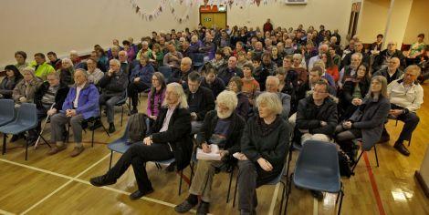 More than 170 islanders attending Tuesday night's Sustainable Shetland meeting - Photo: Ivan Hawick