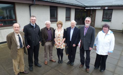 MYSP Emily Shaw with Shetland West candidates (from left to right): Frank Robertson, Gary Robinson, Theo Smith, Ian Tinkler, Tom Macintyre and Marion Hughson. Andy Holt was not abel to attend the westside hustings due to lambing.