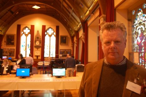 North Isles candidate Jim Johnston is the first candidate to turn up at Lerwick Town Hall.