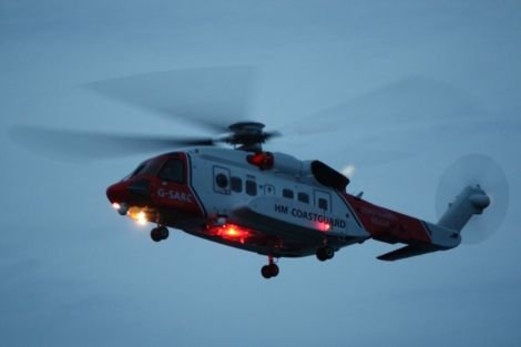 The coastguard helicopter seach and rescue 102 over West Voe beach on Saturday night.