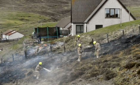Fire crews used a hose reel jet and beaters to extinguish the blaze. Pic. P van Mill