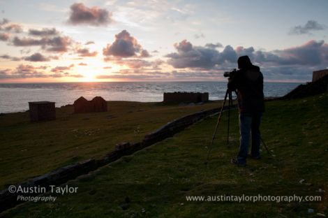 Austin Taylor photographing the transit at Lambs Ness, near Skaw, on Unst