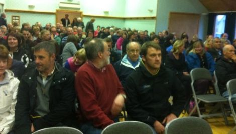 The Aith community came out in force on Monday night to oppose closing its junior high. Pic. BBC Radio Shetland