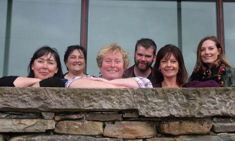 The Shetland Moving Image Archive Group are: Joanne Jamieson (Volunteer co-ordinator), Johan Adamson (Treasurer), Pat Christie (Chairperson), Bryan Peterson (volunteer), Rita Smith (volunteer) and Louise Thomason (Secretary) - Photo: Peter Johnson