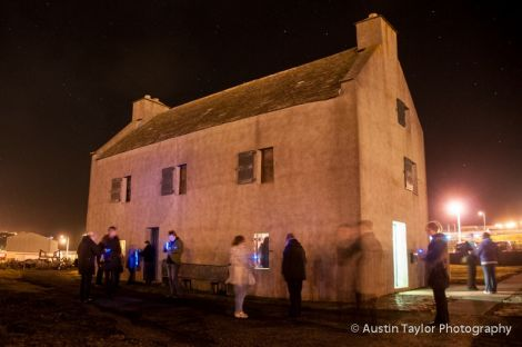 The Shetland Textile Museum at the Bod of Gremista lit up with luminous yarns. Pic. Austin Taylor