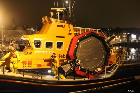 Lerwick lifeboat arrived back on Monday night with the helicopter's life raft on board - Photo: Ian Leask
