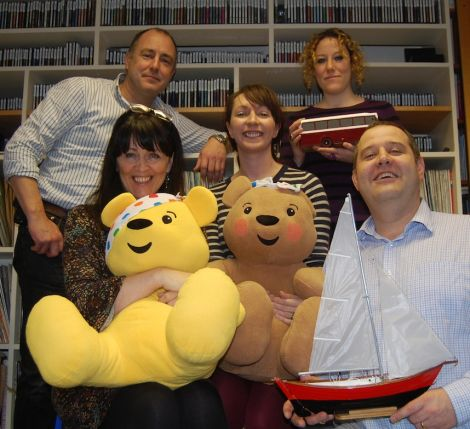 The BBC Radio Shetland team ready for their annual broadcasting marathon. From left: Mike Grundon, Jane Moncrieff, Helen Smith, Lesley Haw and John Johnston. Pic. Shetland News