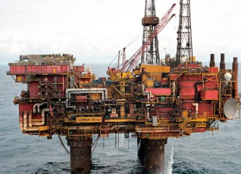 Cormorant Alpha, one of many North Sea platforms approaching 40 years of age. Pic. S Preston
