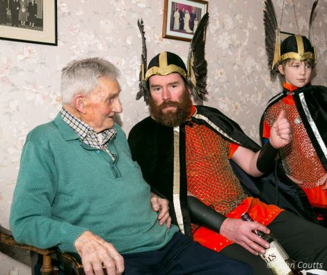 Guizer Jarl Colin Jamieson with 99 year old Allie Smith who was the Uyeasound jarl in 1939 - Photo: John Coutts