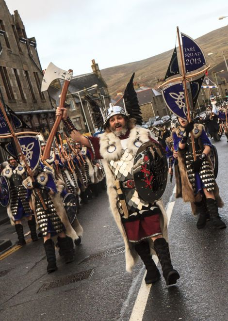 2013 Lerwick Up Helly Aa guizer jarl Stephen Grant as he leads his squad of Vikings through Lerwick - Photo: Peeriepics.co.uk