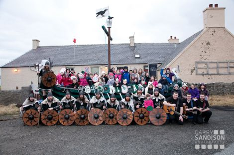 Cullivoe school bairns joining the jarl's squad for the traditional picture - Photo: Garry Sandison