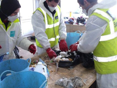 Last month government auditors came up to inspect the contents of Shetland's household waste after concerns about levels of recycling in the isles. Photo: SIC