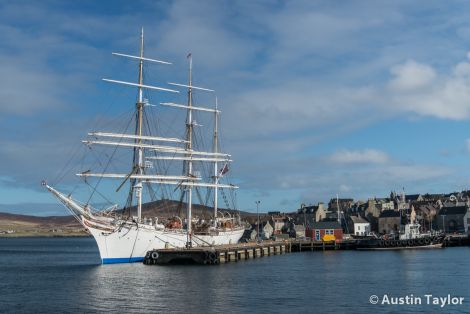 Statsraad Lehmkuhl during her brief visit to Lerwick on Friday. Photo Austin Taylor