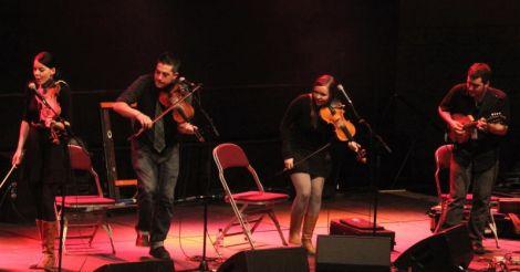 Cape Breton fiddle maestros Coig set the Clickimin alight with their fiery music. Photo Davie Gardner