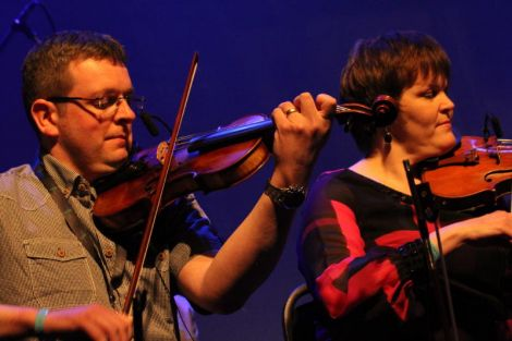 It was fiddle queen Margaret Scollay who organised the Shetland side of the Gathering, here playing with Ian Williamson. Photo Davie Gardner
