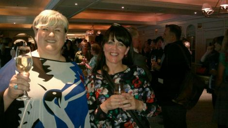 Enjoying a glass of bubbly - Eunice Henderson and Jane Moncrieff at the awards ceremony on Tuesday night.
