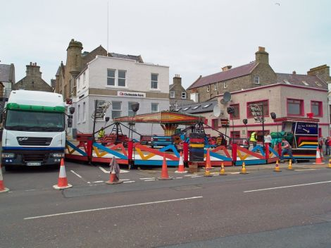 The fun fair being erected on Wednesday before it had to be taken down and shifted to Grantfield. Photo Chris Brown