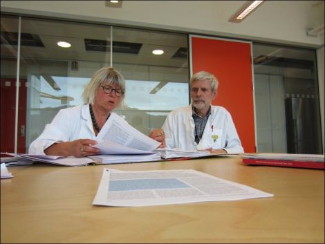 Dr Anne-Lise Birch Monsen and Professor Bjorn Bolann warning about farmed salmon - Photo Marcus Husby