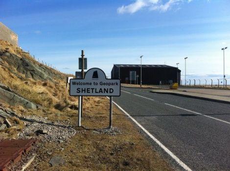 Shetland Geopark's welcome sign at Sumburgh Photo Shetland Amenity Trust