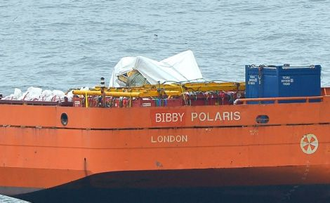 The helicopter fuselage on board the Bibby Polaris - Photo: ShetNews