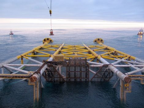 The drilling and production jacket after launch prior to upending.