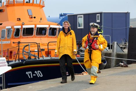 Lerwick lifeboat coxswain Bruce Leask welcomes Carol Smithard to the station - Photo: Malcolm Younger/Millgaet Media