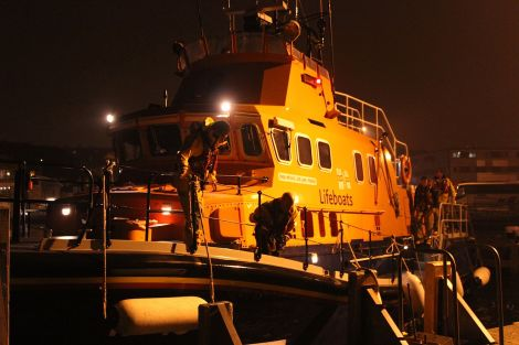 Lerwick lifeboat stood down at around midnight and arrive back at the station at 1.15 - Photo: Hans J Marter/ShetNews