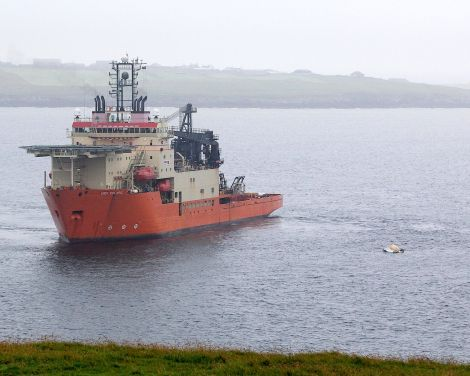The dive support vessels Bibby Polaris near the wreckage of the Super Puma helicopter - Photo: Garry Sandison