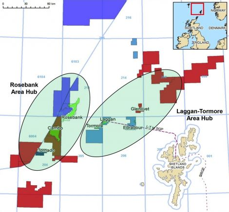 DONG envisages two strategic hubs around Laggan-Tormore and Rosebank further west, which will pipe gas south of Shetland to join the SIRGE line. Image DONG