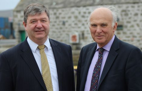 isles' MP Alistair Carmichael (left) and business secretary Vince Cable MP outside Shetland Museum and Archives on Saturday afternoon - Photo: Hans J Marter/ShetNews
