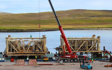 The modules arrived on board the barge Wismar on Monday - Photos: Hans J Marter/ShetNews
