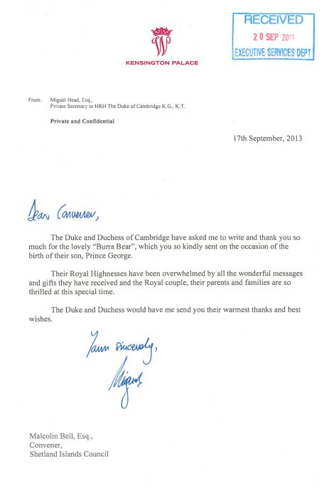 The royal thankyou letter