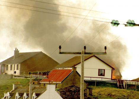The garage was well alight when fire crews were called to the blaze - Photos: ShetNews