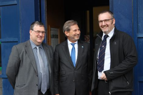 European commissioner Hahn during his September visit to Shetland with SIC development manager Douglas Irvine and Gary Robinson.