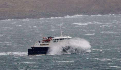 The Whalsay ferry Linga battling through high seas - Photo: Ian Leask