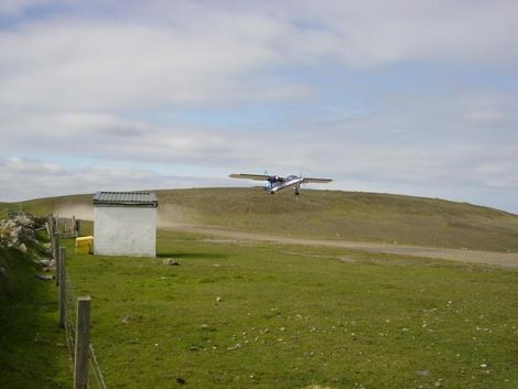 The Islander plane taking off from Papa Stour's airstrip. Photo courtesy of Jane Puckey.