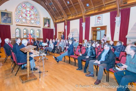Former chancellor and head of the Better Together campaign addressed an audience at Lerwick Town Hall in June last year. Photo Austin taylor