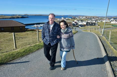 Andrew Halcrow back home in sunny Hamnavoe with his wife Alyson this week. Photo: Malcolm Younger