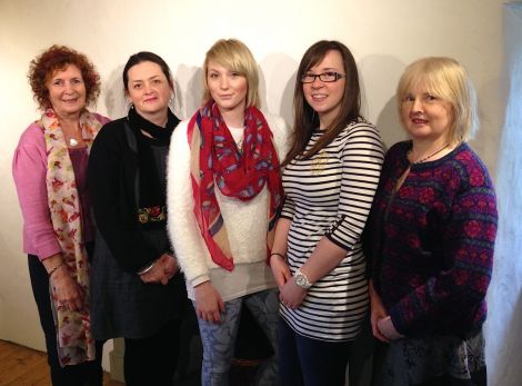 Contemporary textile students (from left to right) Alvis Gill-Merrall, Connie Flynn, Rebecca Richardson, Robyn Inkster and Anne Eunson - Photos: Shetland College UHI